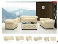 Chic Modern 258 Ivory Full Italian Leather Sofa Set Contemporary Design