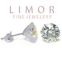 1.50CT 14K WHITE GOLD WHITE SAPPHIRE ROUND CUT STUD EARRINGS NEW BUY & SAVE