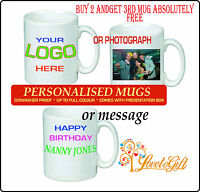 PERSONALISED MUG PRINTED WHITE TEA COFFEE SOUP YOUR PHOTO TEXT IMAGE DESIGN GIFT