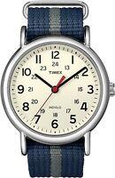 Timex Unisex T2N654 Weekender Blue and Gray Slip-Thru Nylon Strap Watch