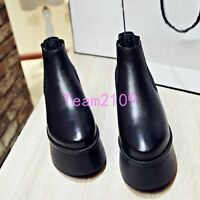 Fashion Ladies Punk Gothic Creeper Block Heel Platform Leather Ankle Boots Shoes