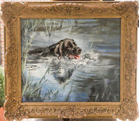 LABRADOR RETRIEVER BLACK DOG ART ORIGINAL OIL PAINTING by Henry Wilkinson