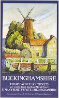 1930's LNER Buckinghamshire A3 Railway Poster Reprint