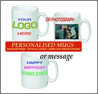 PERSONALISED MUG PRINTED WHITE TEA COFFEE YOUR PHOTO TEXT IMAGE DESIGN GIFT 11OZ