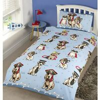 DOGGIES SINGLE DUVET COVER SET BLUE BEDDING KIDS BEDROOM NEW FREE P+P