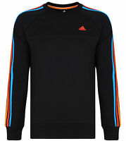 Men's New Adidas Fleece Lined Sweatshirt Jumper Sweater Pullover - Black