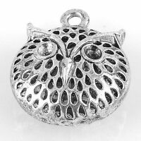 1PC Tibetan Silver Plated Hollow Owl Charms Pendant Bead Craft Findings Making