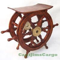 "Ships Boat Steering Wheel Teak Wood 20"" End Table Nautical Decor Furniture New"