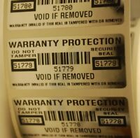 WARRANTY PROTECTION VOID SECURITY LABELS SEALS STICKERS X 500 -WITH SERIAL NO.
