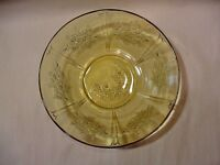 """Federal Depression Glass """"Sharon Cabbage Rose"""" 8-1/2""""  - Round Berry Amber Bowl"""