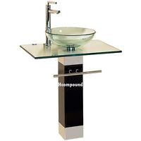 modern Bathroom vanities pedestal glass bowl vessel Sink combo w faucet set