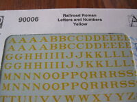 Microscale Decals Stock #90006 Railroad Roman Letters and Numbers Yellow