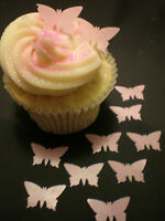 100 Precut Edible Wafer Rice Paper Pale Pink Mini Butterflies for Cupcakes Cakes