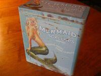 NAUTICAL MERMAID SCALLOPS KITCHEN CANISTER Seafood Restaurant Storage Tin Decor