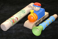 NEW 3 WOODEN WHISTLE SET COLOURFUL TRAIN & SLIDE TRADITIONAL FUN TOYS!