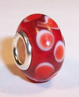 NEW RED PATTERN MURANO GLASS 925 SILVER CHARM BRACELET BEAD FREE P&P  GIFT POUCH