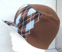 BULA BROWN/BLUE ARGYLE COMMANDO SKI SNOWBOARD PEAK HAT