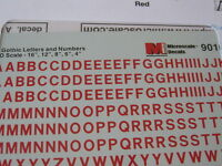 Microscale Decals Stock #90105 Railroad Gothic  Letters and Numbers Red