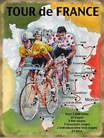 "Tour de France Map repo metal wall sign 8"" X 6"""