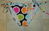 NWT Size Small S Roxy Multi Circles String Side Tie Swimsuit Bikini Bottoms