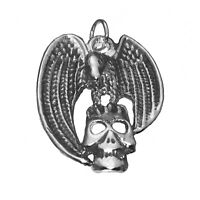 Sterling Silver Vulture on Skull  Pendant Charm Pirate