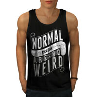 Wellcoda Normal Is Weird Slogan Mens Tank Top, Funny Active Sports Shirt