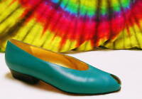 size 6 M vtg 80s green leather peep-toe flats shoes NOS