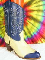 size 8 ladies vintage 80's blue & tan SASSON wing-tip cowboy boots NOS