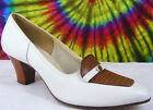 5 B vintage 40's white & brown leather RED CROSS SHOES pumps heels NOS