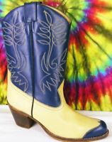 size 8 ladies vintage 80s blue & tan SASSON wing-tip cowboy boots NOS