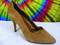 size 7 B vtg 80s brown suede leather heels pumps shoes