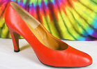 6.5-7 vintage 70's red leather Deliso high heels pumps shoes