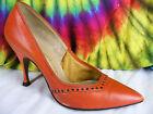 4-4.5 ladies vintage 50's red leather JACQUELINE stiletto heels pumps shoes