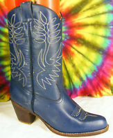 size 7.5 ladies vintage 80's blue leather SASSON stacked heel cowboy boots