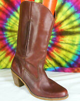 sz 10 M vintage 80's maroon leather DEXTER stacked heel cowboy boots