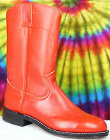 size 7 B ladies vintage 70's-80's red leather PECOS BILL cowboy ropers boots NOS