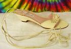 6 M vintage 80s cream leather GLORIA VANDERBILT wedge heels sandals shoes
