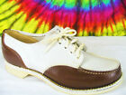 size 6 ladies vtg 40s brown & white leather lace-up oxfords shoes