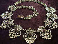 VINTAGE DESIGN TAXCO MEXICAN STERLING SILVER AMETHYST BEADED NECKLACE MEXICO