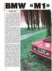 BMW M1 - 1978 1982 / 1988 ESSAI ARTICLE PRESSE REPORTAGE COUPURE MAGAZINE