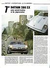 DATSUN 280 ZX - 1982 / ESSAI REPORTAGE ARTICLE MAGAZINE COUPURE PRESSE
