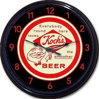 "Kochs Beer Coaster Wall Clock Dunkirk NY Koch's Ale Lager Brew Pub Man Cave 10"""