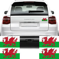 4x Wales Welsh Flag Car Van Stickers (Red Dragon Cymru Bike Decal Graphics)