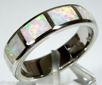 White Fire Opal Inlay 925 Sterling Silver Eternity Band Men's Ring Size 6 -11.5