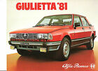 ALFA ROMEO GIULIETTA 1981 // catalogue brochure dépliant prospekt catalog folder