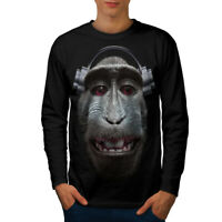 Wellcoda Monkey Song Animal Mens Long Sleeve T-shirt, Audio Graphic Design