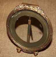 Porte photo ovale Bronze 19° Empire Directoire verre bizeauté