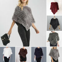 Women Fur Jacket Knitted Shawl Wrap Rabbit Poncho Casual Cape Stole Winter Real