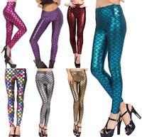 New Womens Mermaid Fish Scale Print Slim Fit Shiny Disco Metallic Leggings Pants