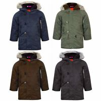 Kids Boys Long Sleeve Hooded Winter Jacket Top Parker Parka Coat